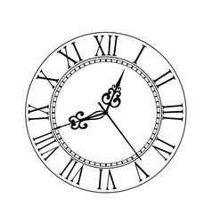 Old clock face with Roman numerals vector image