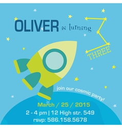 Birthday invitation card - space and rocket theme vector