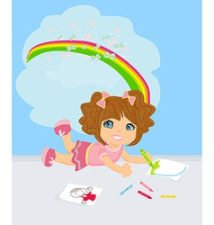 A girl drawing a rainbow thinking about her work vector