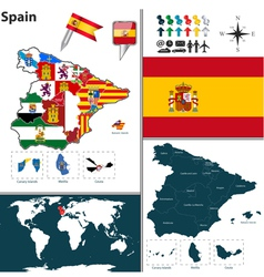 Spain map with regions and flags vector