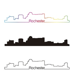 Rochester skyline linear style with rainbow vector