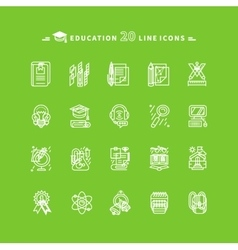 Set of white education icons on green background vector
