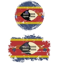Swaziland round and square grunge flags vector