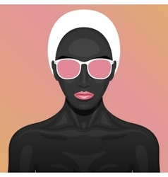 Beauty woman with black paint skin vector