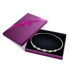 Necklace in a gift box vector