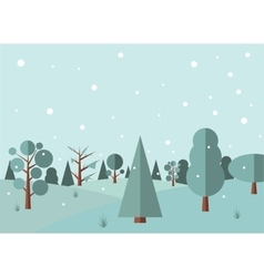 Winter forest flat background vector