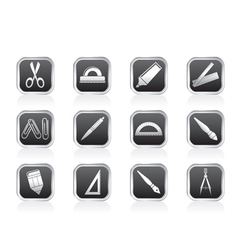 school and office tools icons vector image