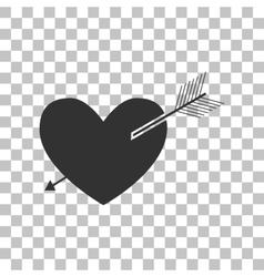Arrow heart sign Dark gray icon on transparent vector image