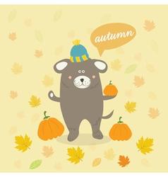 autumn scene with a cartoon dog vector image