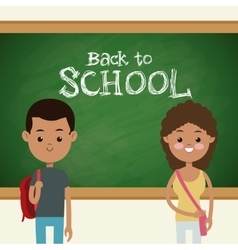 Back to school multicultural students classroom vector