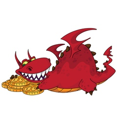 Big dragon with money vector