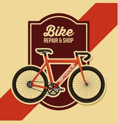 bike repair and shop poster retro design vector image