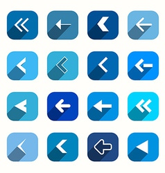 Blue Flat Design Arrows Set in Rounded Squares vector image vector image