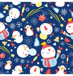 Bright Christmas pattern of snowmen vector image vector image