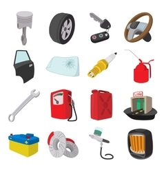 Car service maintenance cartoon icons vector image