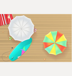 Colored sun umbrellas surfboard flip-flops and a vector