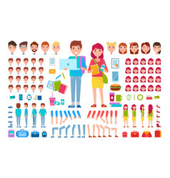 constructor students cartoon isolated vector image vector image