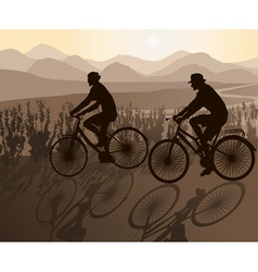 Couple on bicycles on a scenic ride vector