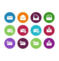 Email circle icons on white background vector image vector image