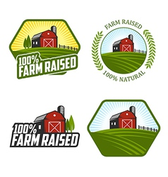 Farm raised labels and badges vector image vector image