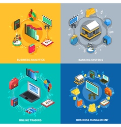 Financial isometric icons square composition vector
