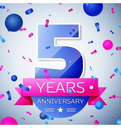 Five years anniversary celebration on grey vector