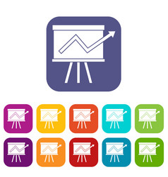 flip chart with statistics icons set vector image vector image