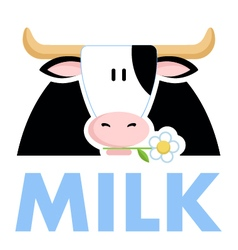 Funny cow holding a daisy flower in his mouth vec vector