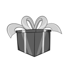 Gift in a box icon black monochrome style vector image vector image