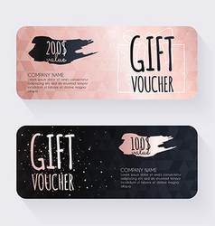 Gift voucher template with rose gold gift vector image vector image