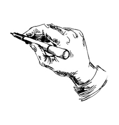 Hand with pencil on white background vector image vector image