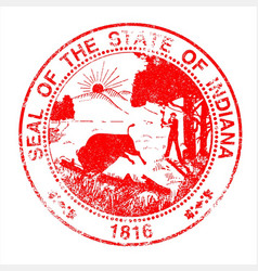 indiana seal rubber stamp vector image vector image