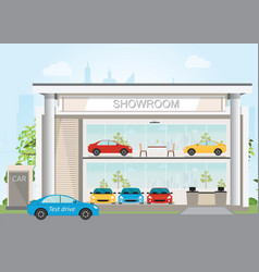 Modern car dealership showroom interior and vector
