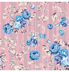 Rose Seamless Pattern Pink Blue vector image