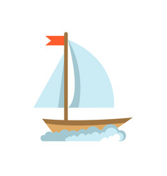 sailing yacht flat icon boat isolated on white vector image vector image
