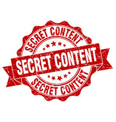 Secret content stamp sign seal vector