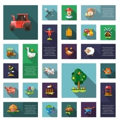 Set of modern flat design farm agriculture icons vector
