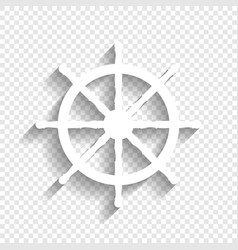 Ship wheel sign white icon with soft vector