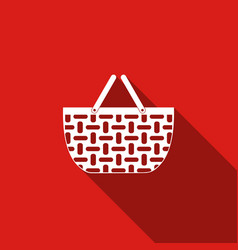 shopping basket flat icon with long shadow vector image