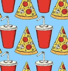 Sketch soda and pizza in vintage style vector image