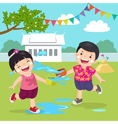 Thai kids splashing water in Songkran festival at vector image vector image