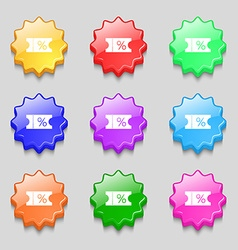 Ticket discount icon sign symbols on nine wavy vector
