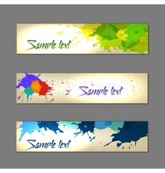 Set of colorful abstract watercolor banners vector