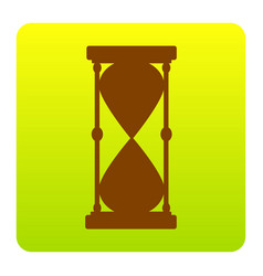 Hourglass sign brown icon at vector