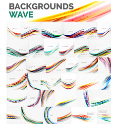 mega collection of wave abstract backgrounds vector image