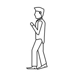 Portrait groom man outline vector