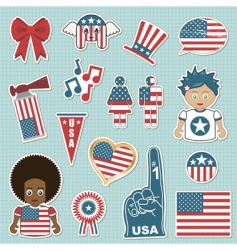 Usa supporter stickers vector