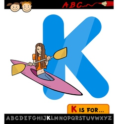 Letter k with kayak cartoon vector