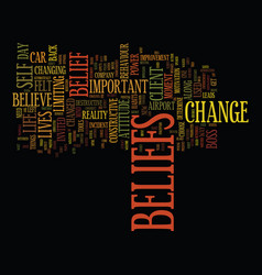 The power of beliefs text background word cloud vector