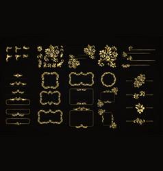 Golden calligraphic design elements on the vector